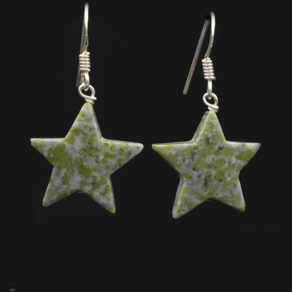 Schottischer Grüner Marmor Stern Ohrringe versilbert