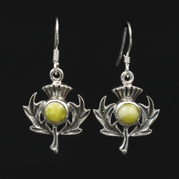 Highland Marble Scottish Thistle Silver Earrings