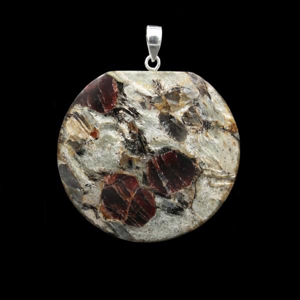 Garnet Mica Schist Pendant - Handmade