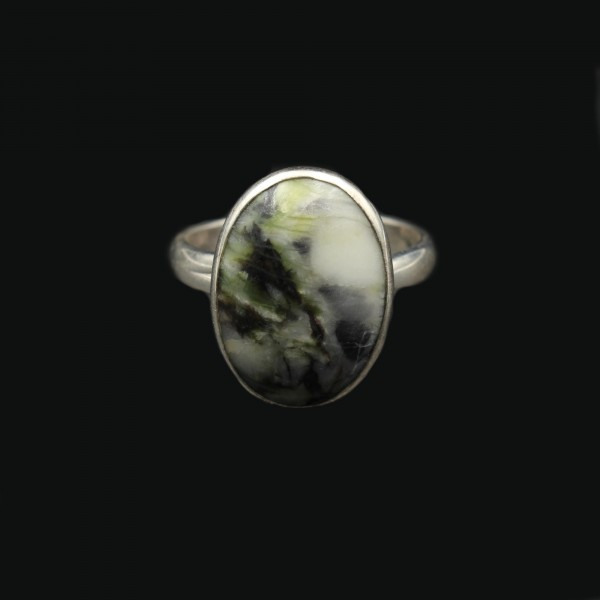 Scottish Skye Marble Silver Ring - Adjustable