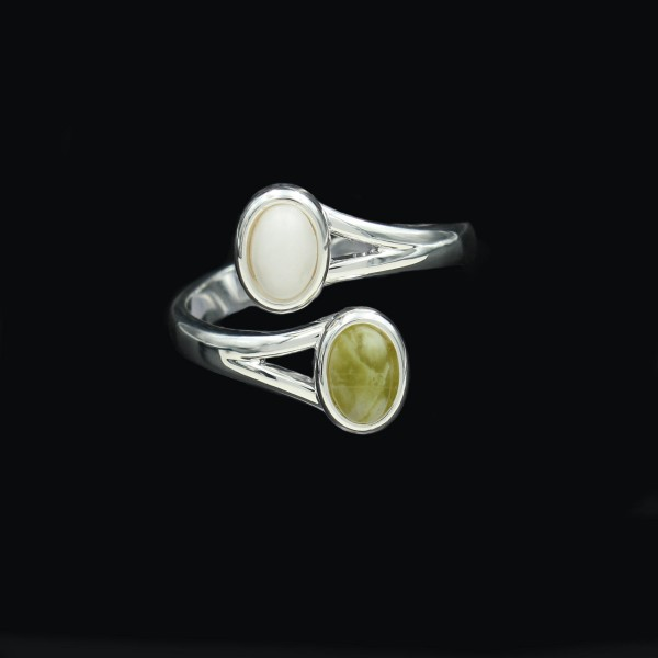 Schottischer Iona Marmor Doppelstein Ring