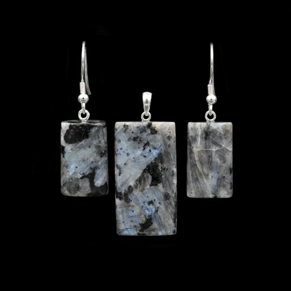 Larvikite / Blue Pearl Granite Jewelry Set - Handmade