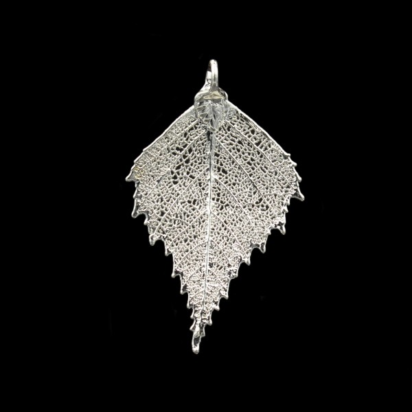 Birch Leaf Pendant - Silver Plated - Medium