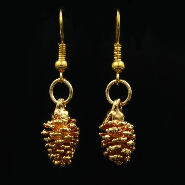 Erlenzapfen Ohrringe vergoldet - Unikat 1