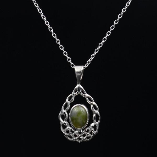 Schottischer Schmuck grüner Marmor Anhänger keltische Wiege - Silber