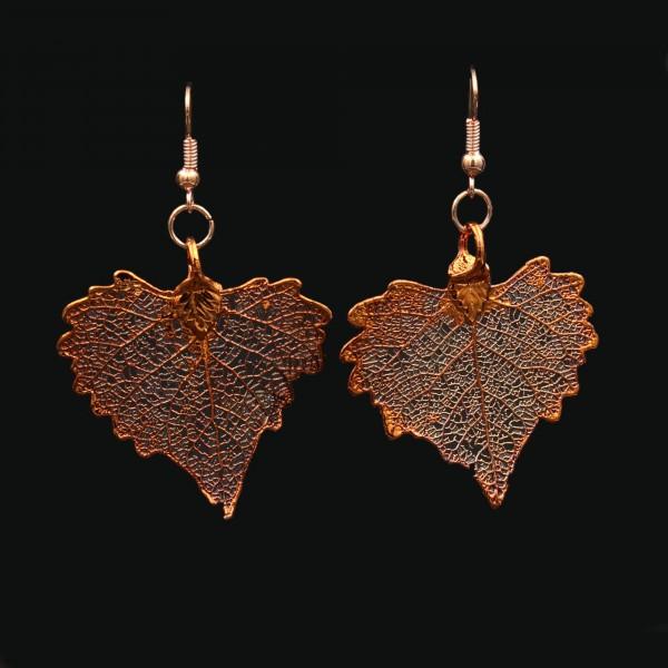 Blattschmuck Pappelblatt Ohrringe Kupfer
