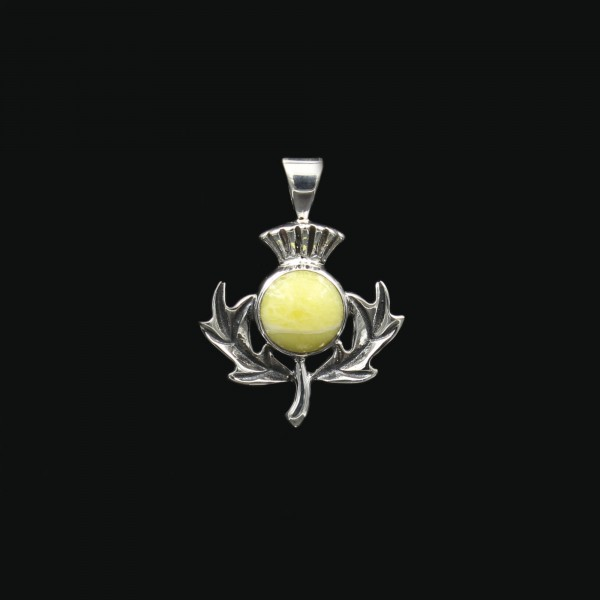 Highland Marble Scottish Thistle Silver Pendant
