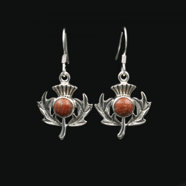 Lewisian Scottish Thistle Silver Earrings