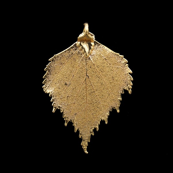 Birch Leaf Pendant - Gold Plated - Medium